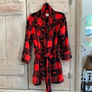 Pink Victoria's Secret | Plaid Fleece Robe Pjs